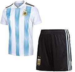 Step Shoes Argentina Jersey and Shorts 2018 World Cup with Messi Printed kit White/Blue(Argentina Jersey Messi Messi Tshirt