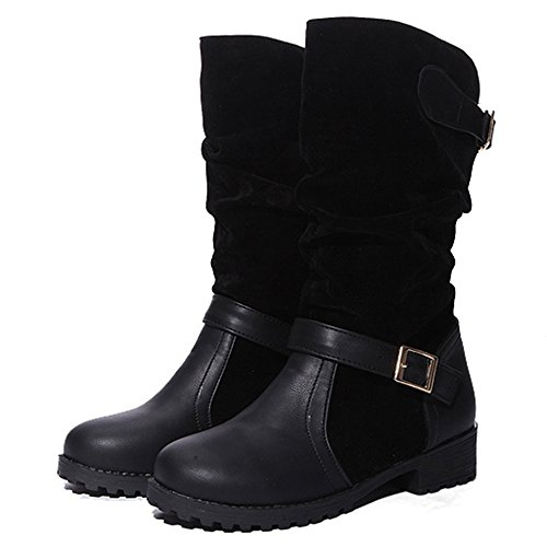 COOLCEPT Femmes Confortable Pull On Slouch Bottes Talon Bas with Boucle Black
