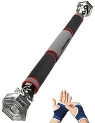 TESTSIEGER 2017* Klimmzugstange mit patentiertem hexagonalem System von Sportstech KS200 - mit 3-Schichtpolsterung, Sicherheitsspannhebel, 6 Druckpunkten & außergewöhnlichem Design, inkl. Handschuhe - Türreck - für Türrahmen 65 - 103 cm