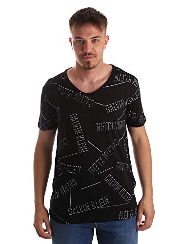 Calvin Klein T-Shirt mit Kurzarm Männer CK Artikel KM0KM00334 Rounded V Neck Tee Logo - Calvin Klein V-neck-shirt