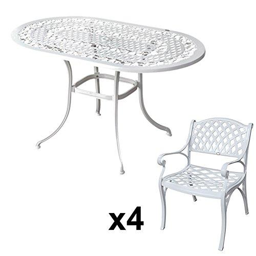 Lazy Susan   ELISE 136 X 81 Cm Ovaler Gartentisch Mit 4 Stühlen    Gartenmöbel Set