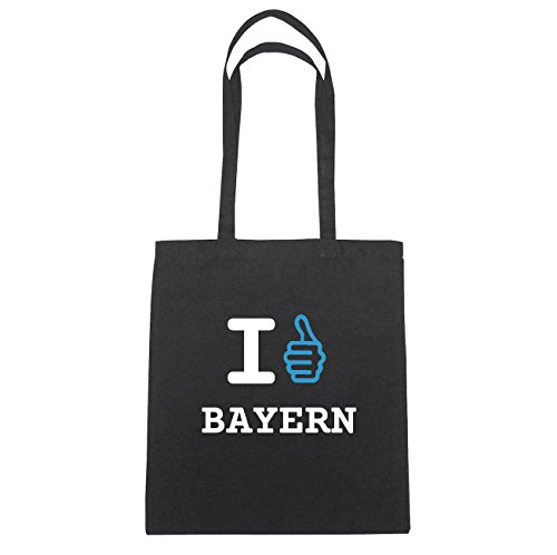 JOllify Bayern di cotone felpato b6040 schwarz: New York, London, Paris, Tokyo schwarz: I like - Ich mag