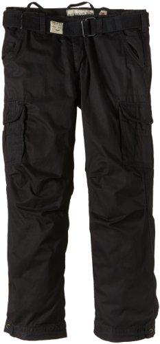 Surplus Herren Cargo Hose Premium Vintage Trousers Schwarz (Schwarz gewaschen)