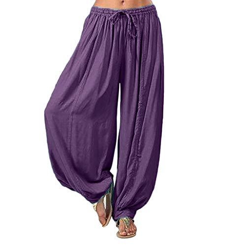 Lila Hippie Oder Disco Kostüm Hosen - Haremshose Damen Sommerhose Damen Leicht Pumphose