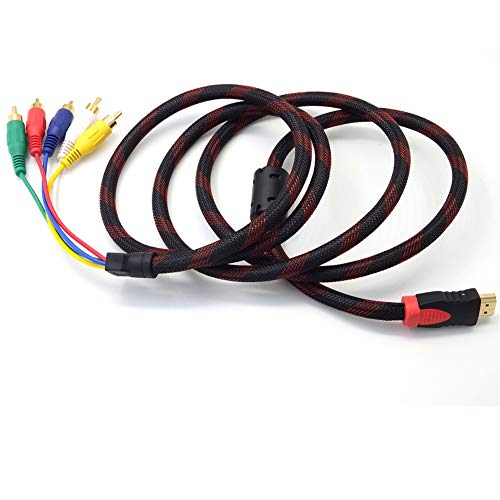 annotebestus 5RCA HDMI Kabel 1.5m, HDMI zu 5RCA Audio Video AV Adapter, Dolby True HD und DTS-HD Master Audio Bitstream Fähig, AV HDMI Konverter Composite-Kabel Unterstützung 1080P für HDTV