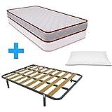 Duermete Cama Completa Colchón Vale Reversible + Somier Basic con 4 Patas 27cm + Almohada Tacto