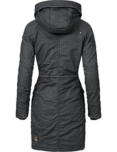 Khujo Damen Mantel Wintermantel Winterparka Baumwollparka YM-Mell (vegan hergestellt) 5 Farben XS-XXL Schwarz