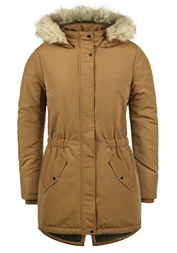 ONLY Paola Damen Winter Jacke Parka Mantel Winterjacke gefüttert mit Kapuze, Größe:S, Farbe:Rubber