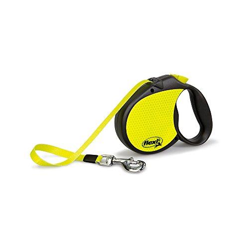 Flexi Roll-Leine Neon Reflect L Gurt 5 m Neon/schwarz für Hunde bis max. 50 kg (Seil Leine Gurt)