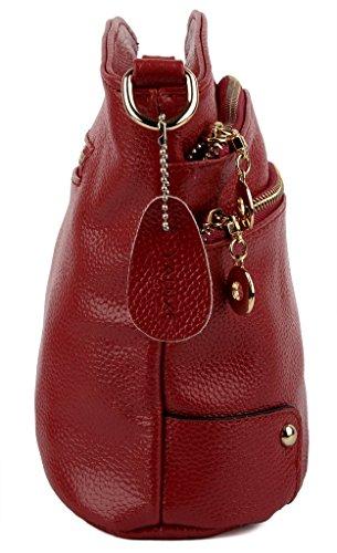 Yaluxe Femme Sac Bandoulière avec 3 Fermetures Eclair Croûte de Cuir Classique Elégant Rouge