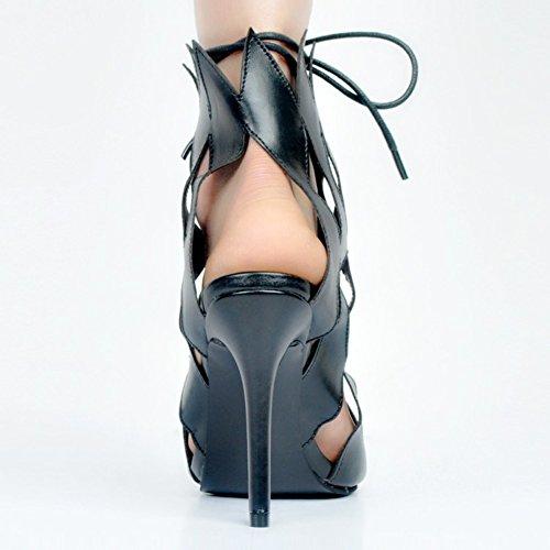 Kolnoo Femmes Handmade 11cm Slim Talon Haut Lace Up Chaussures Sexy Style Party Prom Sandals Black