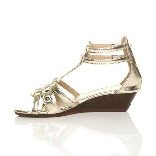 Damen Klein Mitte Keilabsatz Riemchen Schnalle T-Riemen Gladiator Sandalen Größe Gold