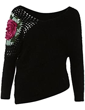 ZORE Mujeres otoño Invierno suéteres Tops Rosas Gancho Flores Hueco suéter Chica Blusa Women Sweater