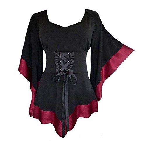 Juleya Frauen Bluse Gothic Oberteil - Vintage Tunika Renaissance Korsett Tops Elegant Bluse mit V Ausschnitt Lange Ärmel Hemd Spitze Bluse Damen Tunika Kleid von (Baumwolle Renaissance-shirt)