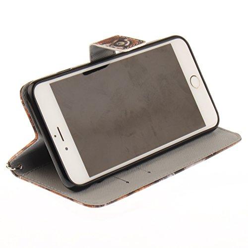 iPhone 6 Plus Hülle, iPhone 6S Plus Hülle, iPhone 6 Plus/ 6S Plus Lederhülle, iPhone 6 Plus / iPhone 6S Plus Brieftasche, BONROY Tier Muster Niedlich Komisch Ledertasche Handyhülle Kunstleder Tasche W Sibirischer Tiger