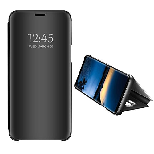 Zater Compatible with Samsung Galaxy A6/A8 2018 Hülle, A6 Plus Schutzhülle Flip smart View Handy Case mit Standfunktion Card Handyhülle für Apple Galaxy A8 Plus (Black, Galaxy A8 2018)