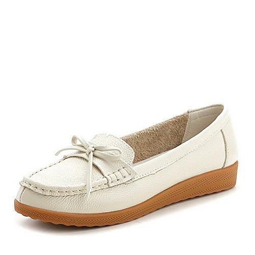 Schuhe Material Weiches Ziehen Rund Niedriger Auf Damen Cremefarben Absatz Allhqfashion Zehe Pumps Sv1FA