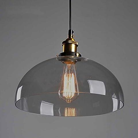 Cozyle Industrieller Vintage Style Edison-Anhänger-hängendes Licht Glas Bernstein Halbrund
