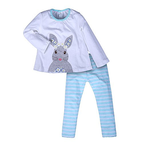en Weiß Cartoon Kaninchen Set Baumwolle Langärmelige T-Shirt Anzüge (Boutique Kinder Kleider)