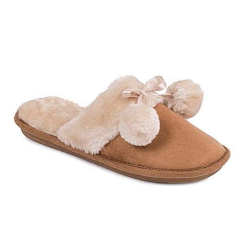 isotoner-ladies-tan-faux-fur-pom-pom-slipper-m