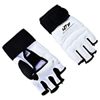 FunWay No.14 Taekwondo Karate Half Finger Gloves & Instep Protector Foot Guards for MMA Kick Boxing Fitness Training Anti-skid Shock Absorber (M,Glove)