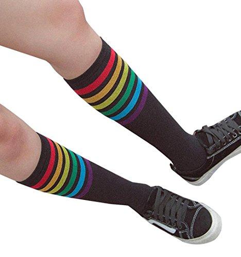 Rainbow Striped Tube Strümpfe Socken ,ZEZKT College Mädchen Wind Overknee Strümpfe über Kniestrumpf - Mädchen College Für Halloween-kostüm