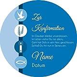 Tortenaufleger Konfirmation3 blau mit Wunschtext / 20 cm Ø / Lieferung 2 bis 5 Werktage