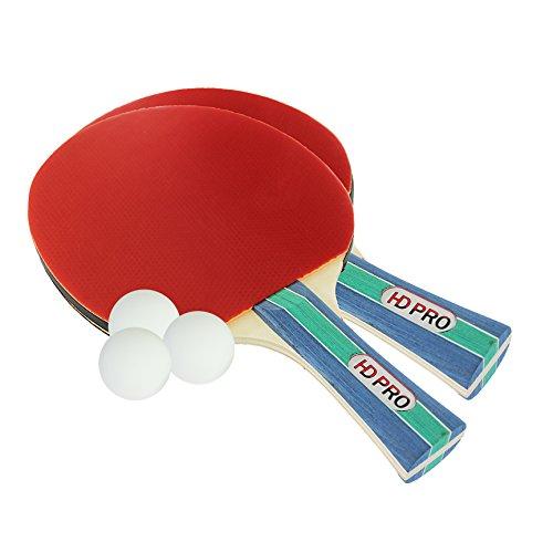 Tischtennis Set von HDPro | 2 Allround Tischtennisschläger | Doppelschläger-Hülle | 3x weiße Bälle | Langlebige Beläge | Ergonomische Griffe | Geld-zurück-Garantie