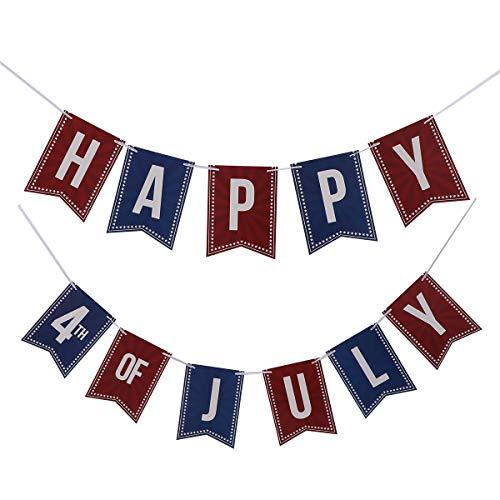 Amosfun Glücklich 4. der Juli-Partei-Fahnen-amerikanischen Unabhängigkeitstag-Fahnen-patriotischen themenorientierten Flagge für Partei-Dekoration (Patriotische Partei Liefert)