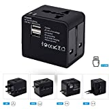 Cuttlefish Universal Travel Adapter with Dual USB Ports (Standard Size, Black)