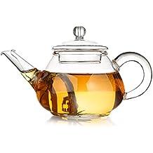 Gong Fu Repertorio de té Tetera de cristal 150ml | con filtro de acero inoxidable en espiral | Pure | pequeña tetera con infusor de cristal de borosilicato soplado a boca | resistente al calor