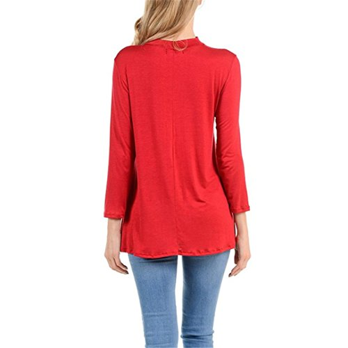 Fulltime® Womens Christmas Printed Long Sleeve t-shirt Loose Tops chemisier Rouge