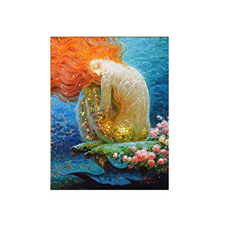 RALCAN Handgemalte Dekor Für Zuhause Fantasie Vintage Meerjungfrau Ölgemälde Bild Leinwand Wohnzimmer Wohnzimmer Schmuck Kunst-100X180cm(40X72Inch)