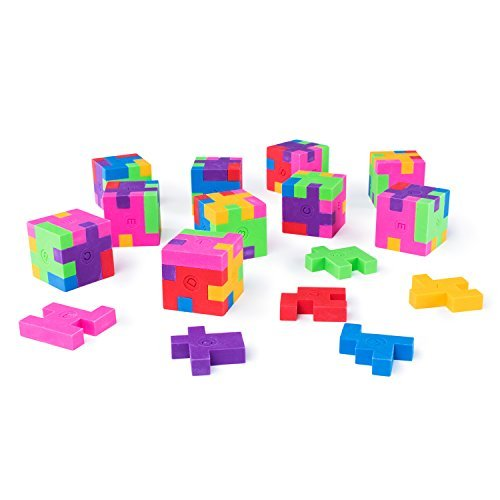 Mini Colorful Geometric Shape Puzzle Pencil Erasers for School Supplies, Party Favors, Games & Activities (12...