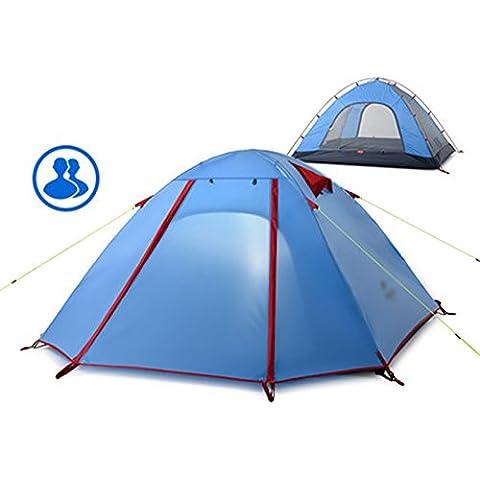 Tienda al aire libre 2 Personas poste de aluminio Carpa Doble viento y la lluvia camping tienda de campaña ( Color : E )