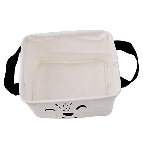 HENGSONG Cartoon Praktische Aufbewahrungsbox Korb Kosmetik Koffer Make-up Tasche Spielzeug Ablagebox Desktop Organizer für Haus Kinderzimmer Büro Aufbewahrung (Weiß) - 3