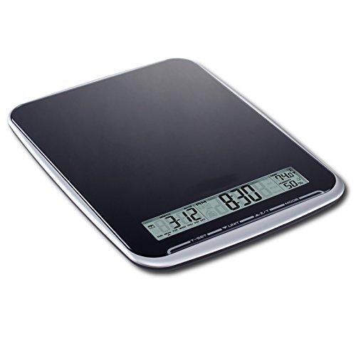 XL Multifunktions Küchenwaage mit Glasoberfläche, wiegt bis 10Kg, Touchbedienfeld, schwarz - 2