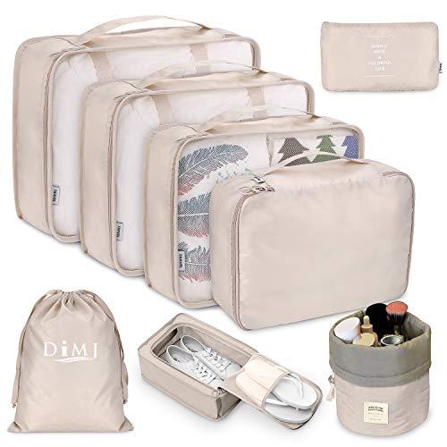 Organizer Valigia Set di 8, Organizzatori da Viaggio Cubi di Imballaggio Sistema di Cubo di Viaggio Perfetto di Viaggio Dei Bagagli Organizzatore (Beige)