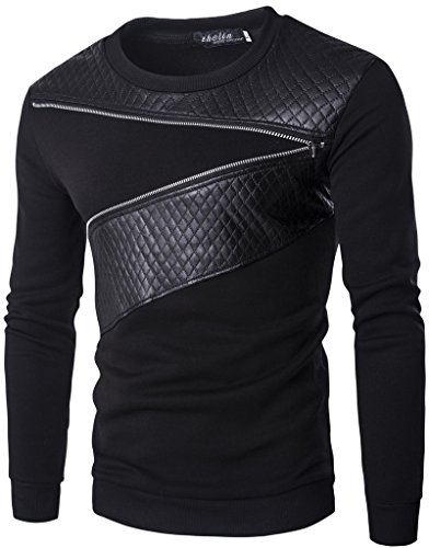 Whatlees Herren Basic urban asymmetische design sweatshirts mit kunstleder einsatz und reissverschluss (V-ausschnitt Diamond-pullover Mit)