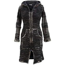 SHOPOHOLIC FASHION - Cazadora larga para mujer, con efecto lavado a la piedra, estilo bohemio, hippie, gótico Negro negro Small