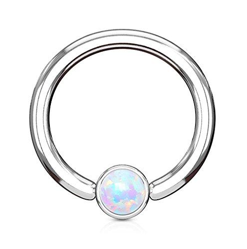 KULTPIERCING - Klemmkugelring Piercing Septum Cartilage Helix Captive Bead Ring mit Opal in Silber 1,2 x 8 x 3 mm - Weiß