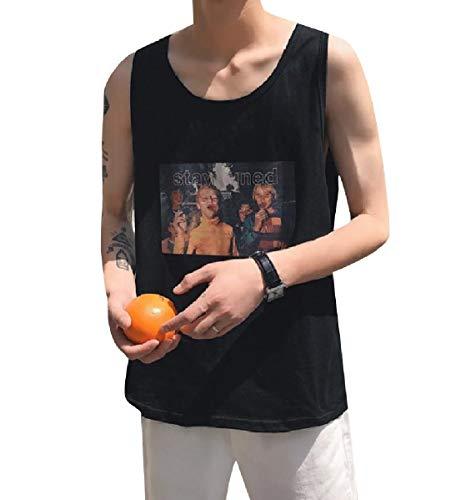 CuteRose Mens Graphic Print Sleeveless Summer Fine Cotton Tank Top Tees Top Black XL (Tank Cut Cotton Top Square)