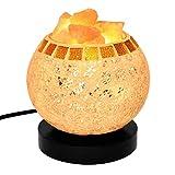 AsDlg Lámpara de mesa pequeña a prueba de radiación Lámpara de sal del Himalaya Lámpara de sal de cristal natural Luz de noche Trozos de sal en un recipiente de vidrio con base de madera Lámpara de es
