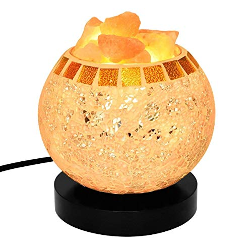 (AsDlg Himalaya-Salz Lampe, Nachttischlampe mit 100% natürlichen rosa Kristall Rock in Cube Basket, Salz Tischlampe mit Dimmer Switch für Hauptdekorationen, Schlafzimmer, Raucherzimmer, Sauna, Yoga)