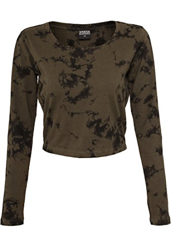Urban Classics Ladies Longsleeve Cropped Acid Wash olv/blk
