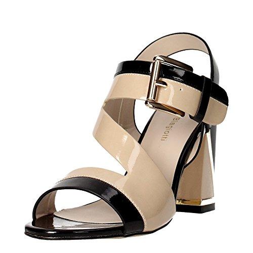 LAURA BIAGIOTTI 963 beige nero scarpe sandali donna tacco Beige