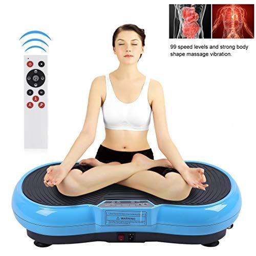 ALTERDJ Vibrationsplatte Ganzkörper Trainingsgerät Rutschfest, Profi Vibrationsplatte inkl. Trainingsbänder, LCD Display & Fernbedienung (Blau)