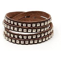 Damen Herren Accessoire Nieten Wickelarmband Armband Wraps verstellbar braun (8442)