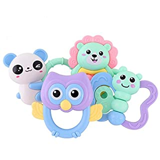 Amtop 9pcs set Teether Rattle Baby Toy Early Educational Toys for Baby Infant, Newborn Baby Gift