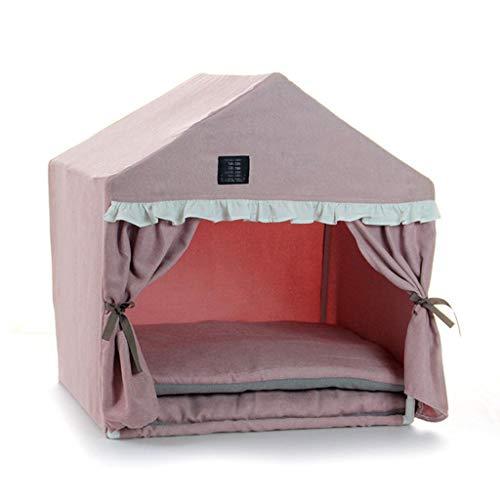 Weich Waschbar Hündchen Hund Haus, Katze Hund Kuscheln Bett Haustier Schutz Warm Luxus Weich Abnehmbar (Farbe : Rosa, größe : 53 * 43 * 55cm) -
